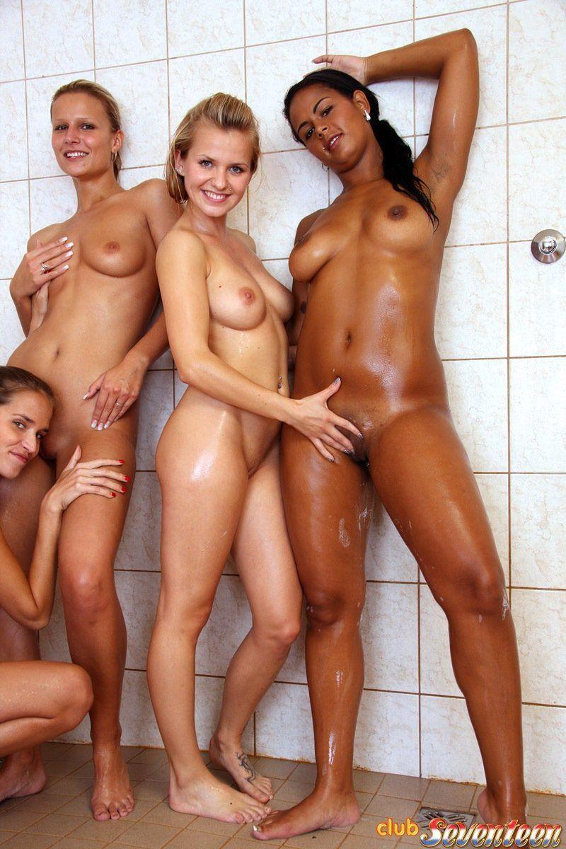 Lesbian group shower porn