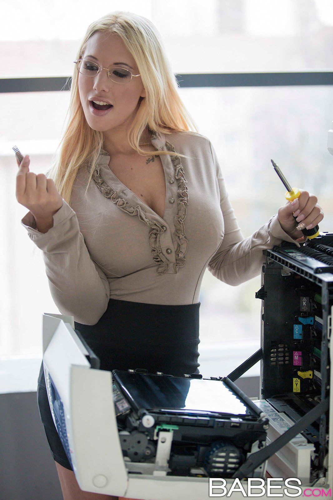 Busty office blowjob