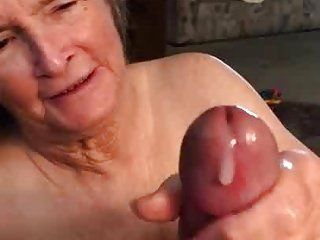Mature handjob with cum