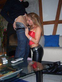 Blonde in leather pants Blowjob
