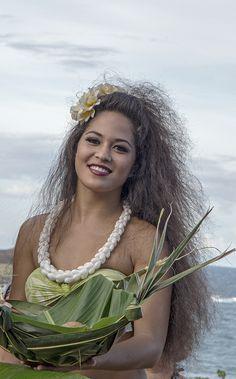 Beautiful woman in luau
