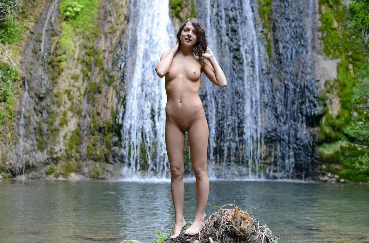 Nudist girls waterfall