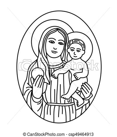 Clip art of the blessed virgin mary