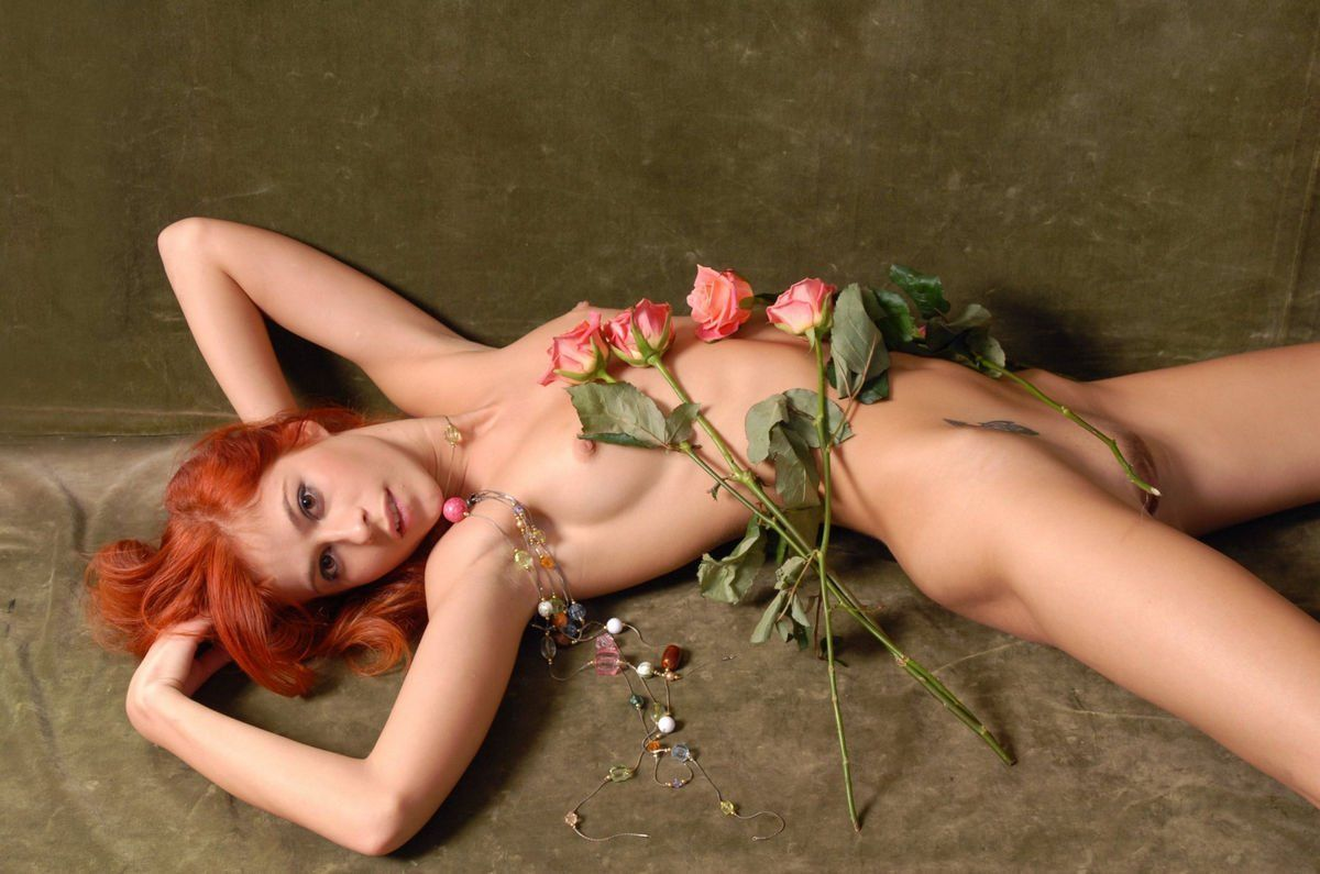 Nude girls in flowers